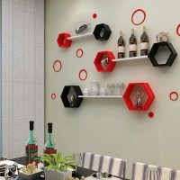 Floating Hexagon Shelves / Rak Dinding Hexagon