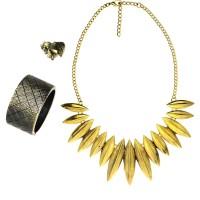 Perhiasan Set Gold Etnik / Kalung / Gelang / Cincin