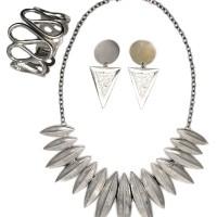 Perhiasan Set Silver Etnik / Kalung / Gelang / Anting