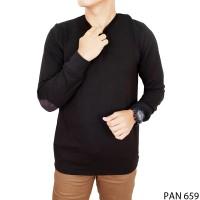 Casual Outfit Long Sleeve Boy Tshirts Katun Hitam  PAN 659
