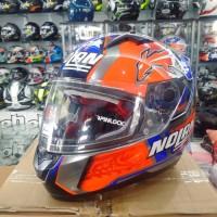 Helm Nolan N64 Stoner Blue Orange Fullface Full Face N 64 Chrome