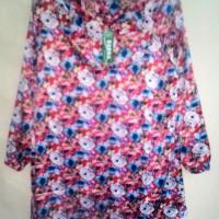 Atasan Blus Blouse Merah Bunga-Bunga