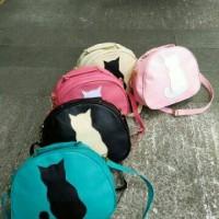 tas selempang slingbag kucing cat tosca hitam pink cream lucu murah