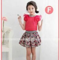 Setelan Baju rok fashion kembang Anak Import merk GW122-F