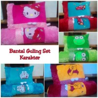 Bantal Guling Set Karakter Hello Kitty Cars Doraemon Uk. Besar - Kero Hijau