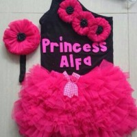 set gotik tutu 4/5/6/7 tahun dress gaun rok kembang pita pink hitam