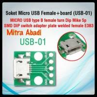 Soket Micro USB Female/Cewek + Board (USB-01)