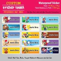 Sticker Label Mario Bros - Stiker nama waterproof