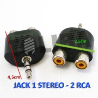 Converter Jack Stereo To 2 Cover rca / jack T stereo audio mini 1-2