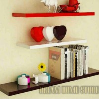 rak floating shelves 1set uk/ 80-60-40 rak dinding gantung murah