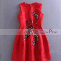 KOREA PINK Dress merah anak bordir rose / Dress imlek anak cewek impor