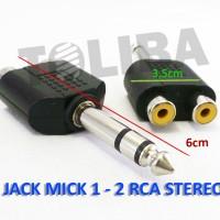 jack mic konektor T cabang rca female ke jack akai male mic stereo 1-2