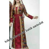 Long dress 066 Batik Terusan Gamis Muslim Syarii Brokat keluarga