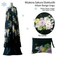 mukena sakura eksklusif hitam bunga ungu