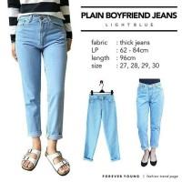 celana jeans wanit/PLAIN BOYFRIEND JEANS LIGHT BLUE