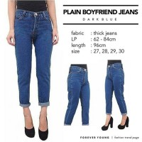 Celana jeans wanita/PLAIN BOYFRIEND JEANS DARK BLUE