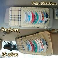 Tempat CD Sunvisor Mobil Kulit Motif BURBERRY (CD Organizer)