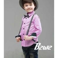 Setelan Boy Jeans Kemerja Purple dan SuspenderSetelan anak import bran