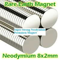 Magnet Neodymium coin diameter 8mm tebal 2mm super strong