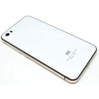 Aluminium Tempered Glass Hard Case for Xiaomi Mi5 - White/Gold