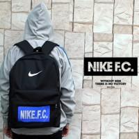 Tas Ransel Nike FC Hitam Logo Biru(sekolah,sport,olahraga)