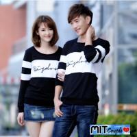 Kaos couple lengan panjang wisdom hitam putih - baju pasangan