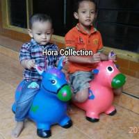 Mainan anak kuda karet dengan music mampu menahan beban max 50kg