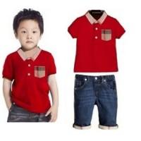 Baju Anak - Burberry Jeans Set Red (BO-465)