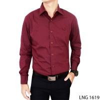 Kemeja Polos Slim Fit Panjang Katun Merah Maroon LNG 1619