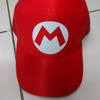 topi trucker super mario merah full