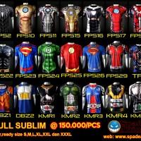 Kaos superhero,spiderman,iron man,hulk,captain america,thor,anime. - Ukuran, XS