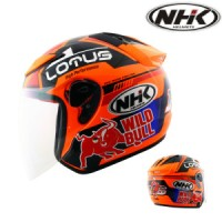 Helm NHK R6 Half Face R 6 Lotus Black Orange Glossy