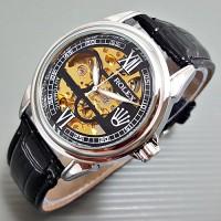 Jam Tangan Pria / Cowok Rolex Kulit Automatic Romawi Silver