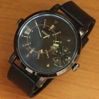 Jam Tangan Pria Fossil Dualtime Leather Full Black Kw-Super