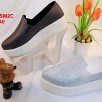 B2978-SM2C sepatu gliter karet jelly wedges bara bara