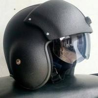 Helm Pilot Retro Kulit Oscar Visor