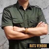 Kemeja Outdoor / Lapangan / Gunung / PDL Lengan Pendek Hijau Army
