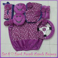 Set Car/Sarung Jok/Bantal Mobil Boneka Barney/Love/Ungu 8 in 1