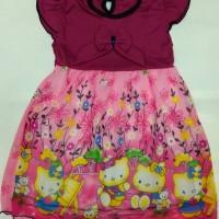 Dress anak cewek Hello Kitty ungu ukuran 1-2 tahun
