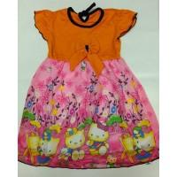 Dress anak cewek Hello Kitty oranye ukuran 1-2 tahun
