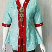 blouse kebaya kutu baru batik jumputan toska list merah