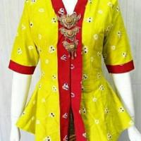 blouse kebaya kutubaru batik jumputan kuning list merah