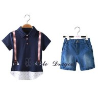 Setelan Anak Jeans Male Dragon/Baju Anak Import Tshirt Suspender