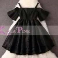 KOREA PINK Dress anak cewek sabrina hitam import