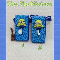 Tempat Tissue Mobil Tas/Boneka Minion/Minnion/Despicable/Biru/Kuning