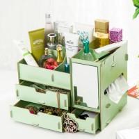 Rak kosmetik bahan kayu / Desktop storage cermin dan tempat tissue