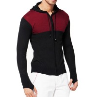 VM Sweater Cardigan Polos Rajut ZIpper Hoodie Long Knitt Hitam Komb