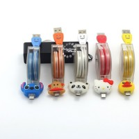 Cute Cartoon Crystal LED Micro USB Cable Charger Samsung Xiaomi HTC LG