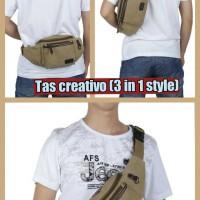 tas kanvas pria creativo (3 in 1 style)  [NEW TREND]