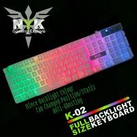 NYK ( K02 / K-02 ) Keyboard Gaming RGB warna PUTIH / WHITE + 8 Keycaps